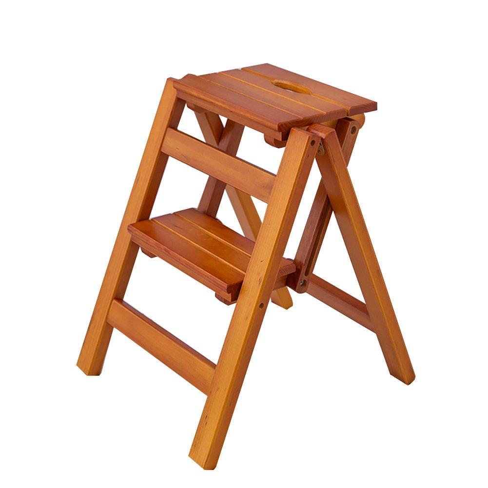 Amazon.com: Wooden Folding Stepladder Wood Folding Step Stool for ...
