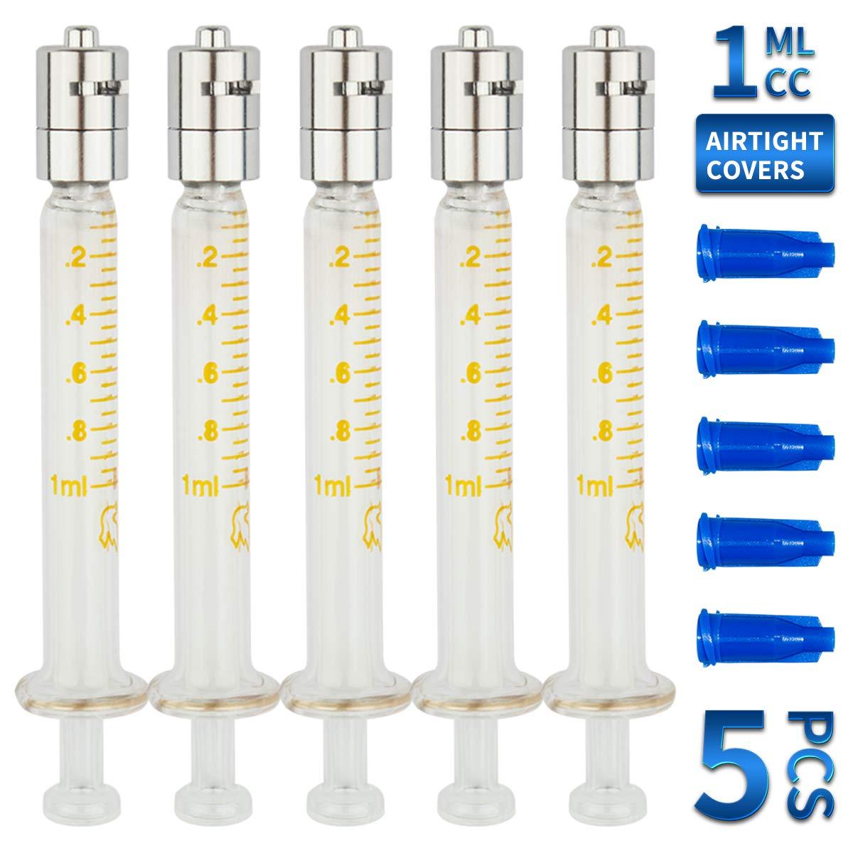 Bongner 1ml Luer Lock Metal Tip Glass Syringe Reusable