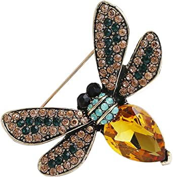 Bullidea Metal Pin Badge Brooch Man-made Diamond Crystal Christmas Festive Brooch Pin Colorful Bee Corsage for Suit Shirt Sweater