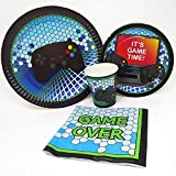 blueorchards Video Game Party Standard Party Packs (65+ Pieces for 16 Guests!) Gaming Party Tableware Video Game Party Supplies Gamer Birthday Decorations
