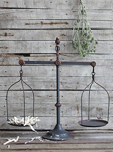 Decorative Iron Scale W/ Bird Accent Distressed Rusty Finish Country Home D