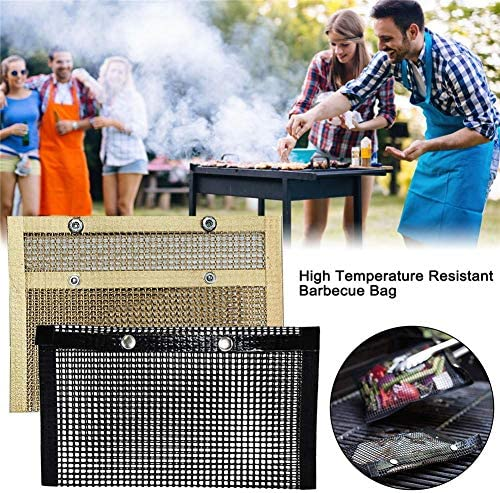 Gorgeousy 4pcs Barbecue Grill Maille Sac Ensemble antiadhésif Barbecue Griller Sac réutilisable Barbecue sachets Four Sacs Pique-Nique Outil pour Jardin en Plein air Cuisine Noir