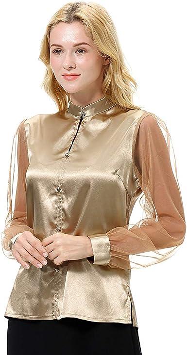 ViewEnore, blusa de seda con cuello alto, para mujer, manga larga, camisas de seda Dorado dorado 85: Amazon.es: Ropa y accesorios