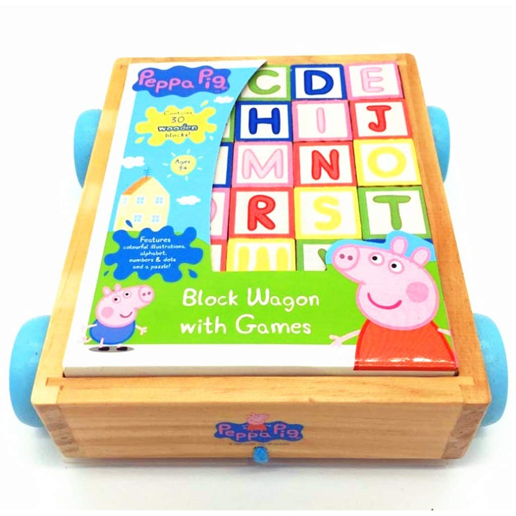 BJLWTQ Children Classic ABC Wooden Building Block Cart Kids Puzzle Educational Toy with 30 Solid Wood Blocks by BJLWTQ Toddlers kids toys (Image #1)