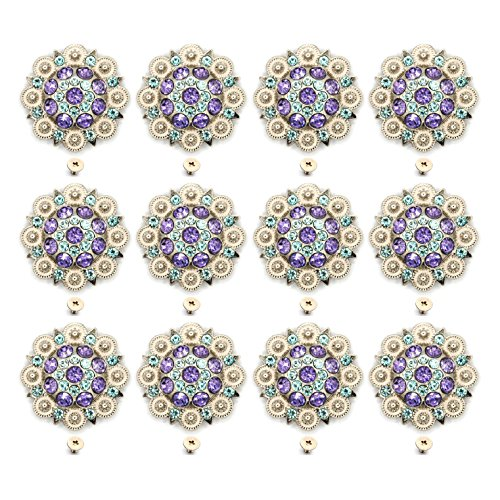 MarryAcc Berry Conchos with Screws Metal Flower Rhinestone Conchos 12 Pieces (Color 10) (Bling Saddle Conchos)