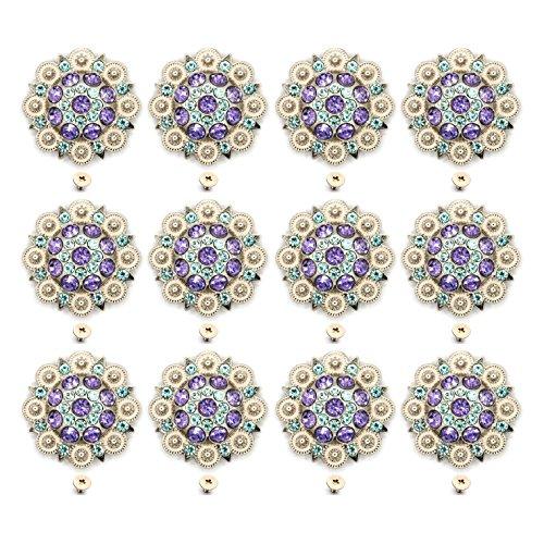 MarryAcc Berry Conchos with Screws Metal Flower Rhinestone Conchos 12 Pieces (Color ()