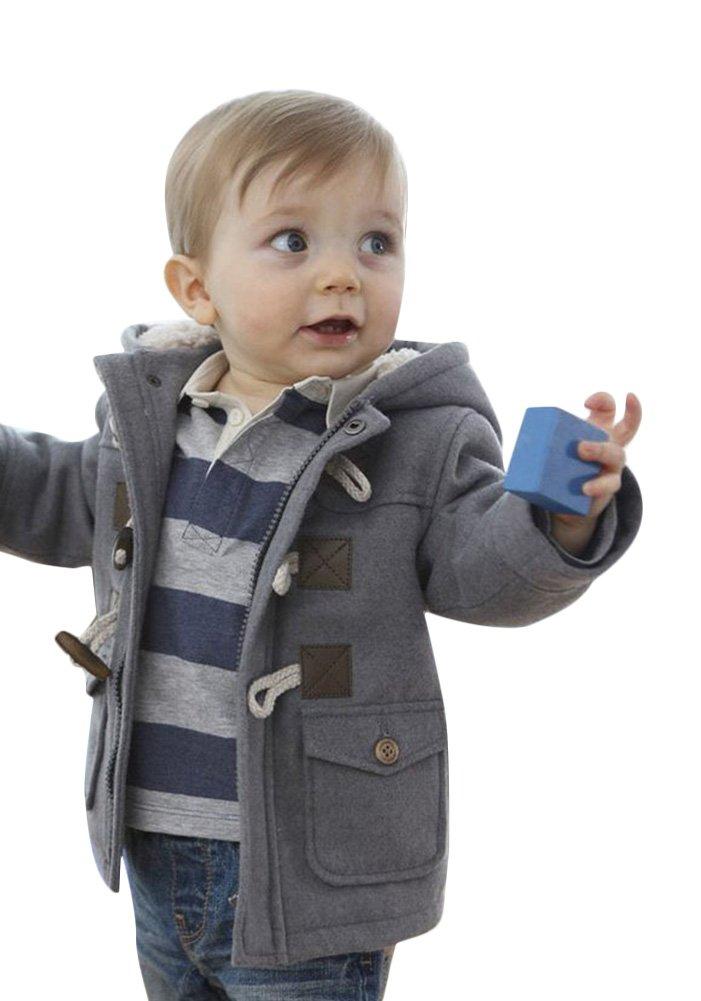 Ekaliy Winter Toddler Boy Kids Fleece Coats Jackets with Hoodies Grey 2t
