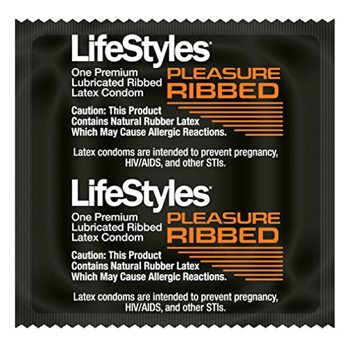 LifeStyles RIBBED PLEASURE Condoms - Also available in quantities of 12, 25, 100 (50 condoms)