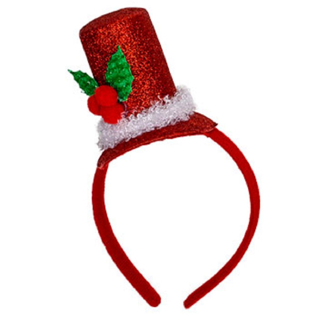 9535346e09e Amazon.com  Christmas House Mens Glittery Santa Top Hat Headband with Holly  - One size - 1 pkg.  Clothing