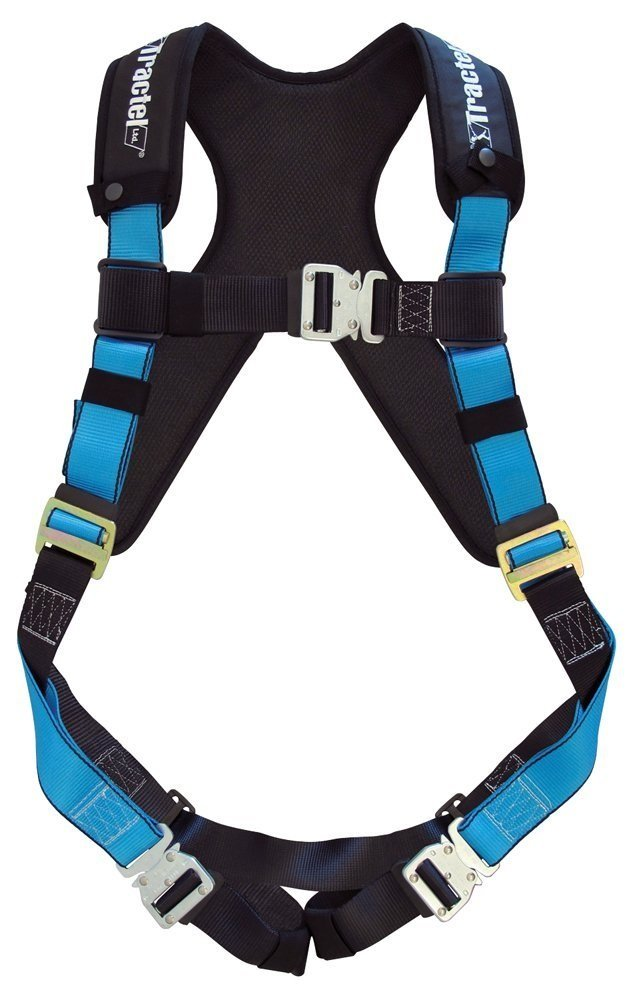Tractel AT732/XT Harness with Automatic Buckles, TracX Pad and Dorsal D-Ring, One Size, Blue/Black