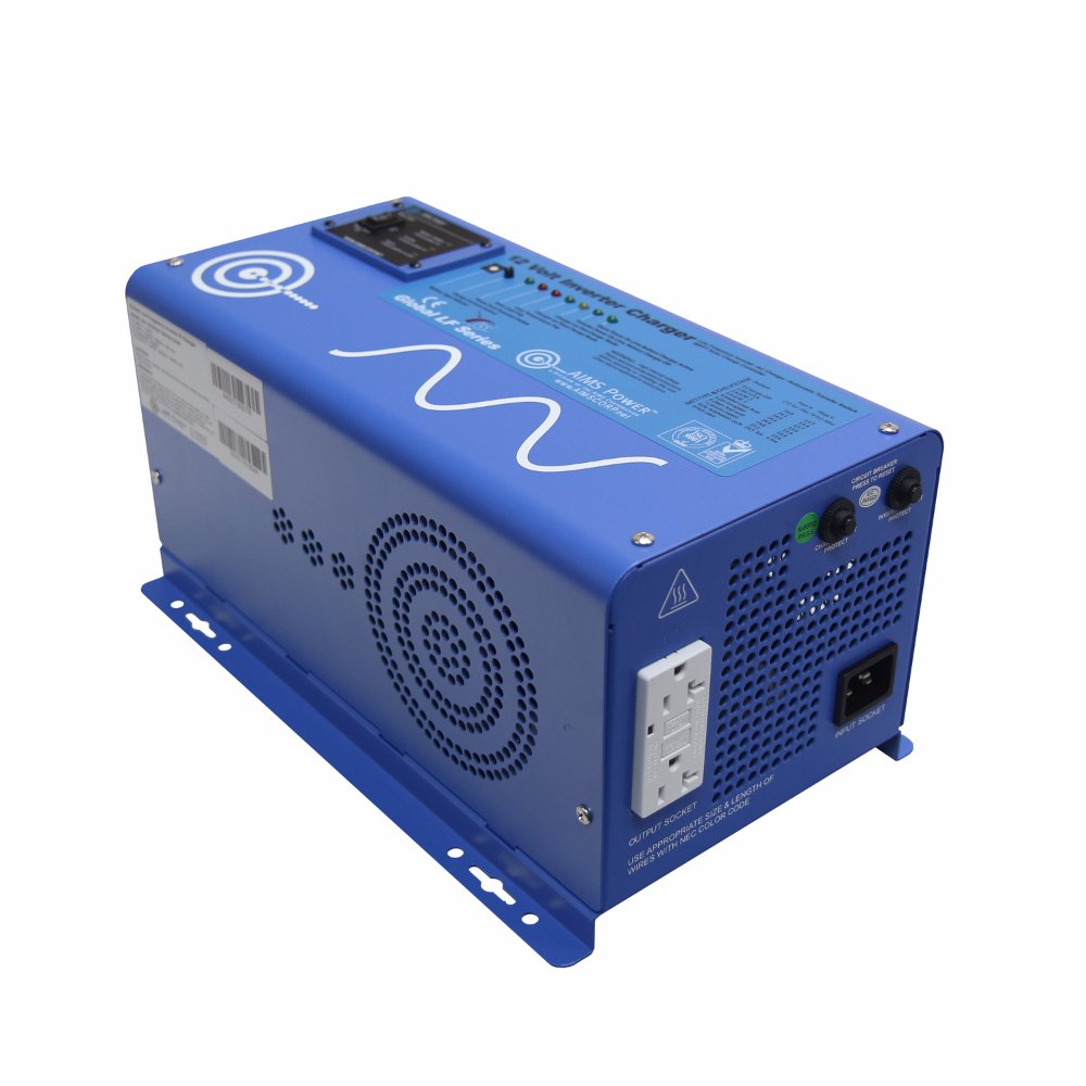 AIMS Power 1500 Watt 12 VDC Pure Sine Inverter Charger w/ 4500W Surge