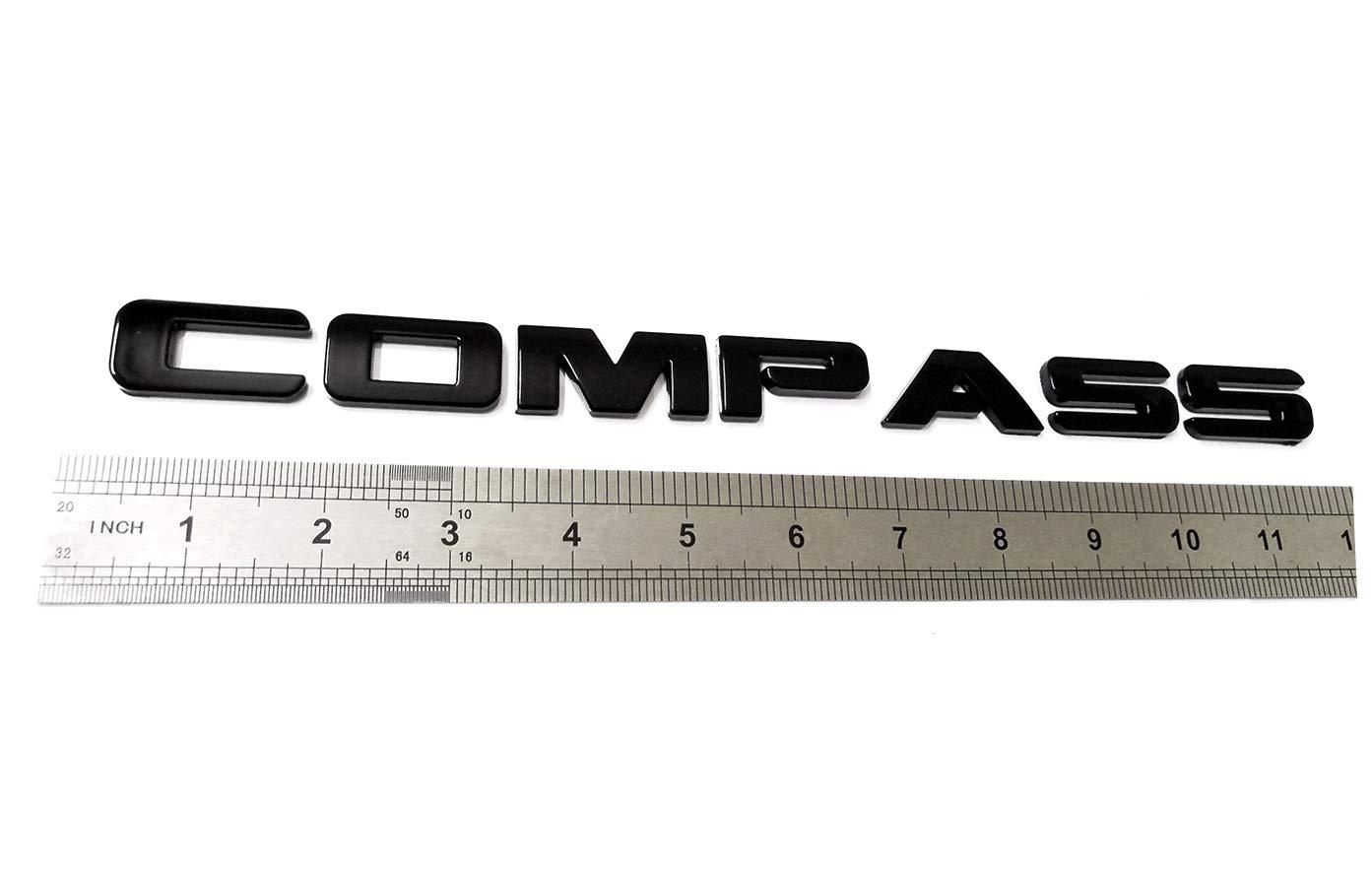 Black 2pcs Compass Altitude Emblems Letter Nameplate Emblems Replacement for Compass Jeep Badges New 08-15