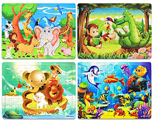 Wooden Jigsaw Puzzles Set for Kids Age 3-8 Year Old 60 Piece Colorful Wooden Animals Puzzles for Toddler Children Learning Educational Puzzles Toys for Boys and Girls (4 Puzzles)
