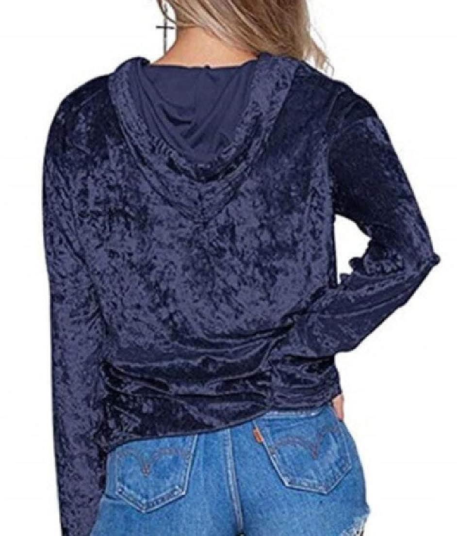 Frieed Womens Classic Long Sleeve Drawstring Velvet Pullover Hoodie Sweatshirt
