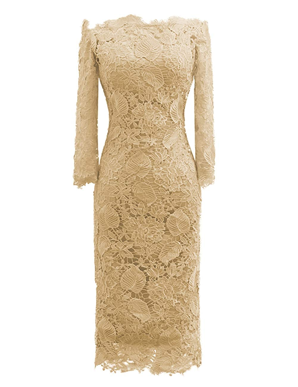 Champagne JAEDEN Mother of The Bride Dresses with Long Sleeves Lace Formal Evening Gowns Mermaid Evening Dresses Off The Shoulder