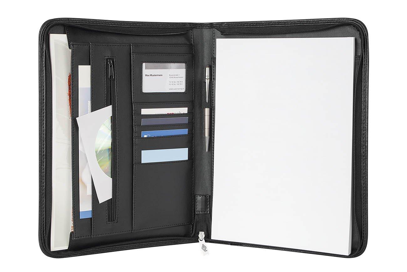 WEDO Elegance Conférencier A4 avec Bloc-notes/Poche extérieure Noir 5854301