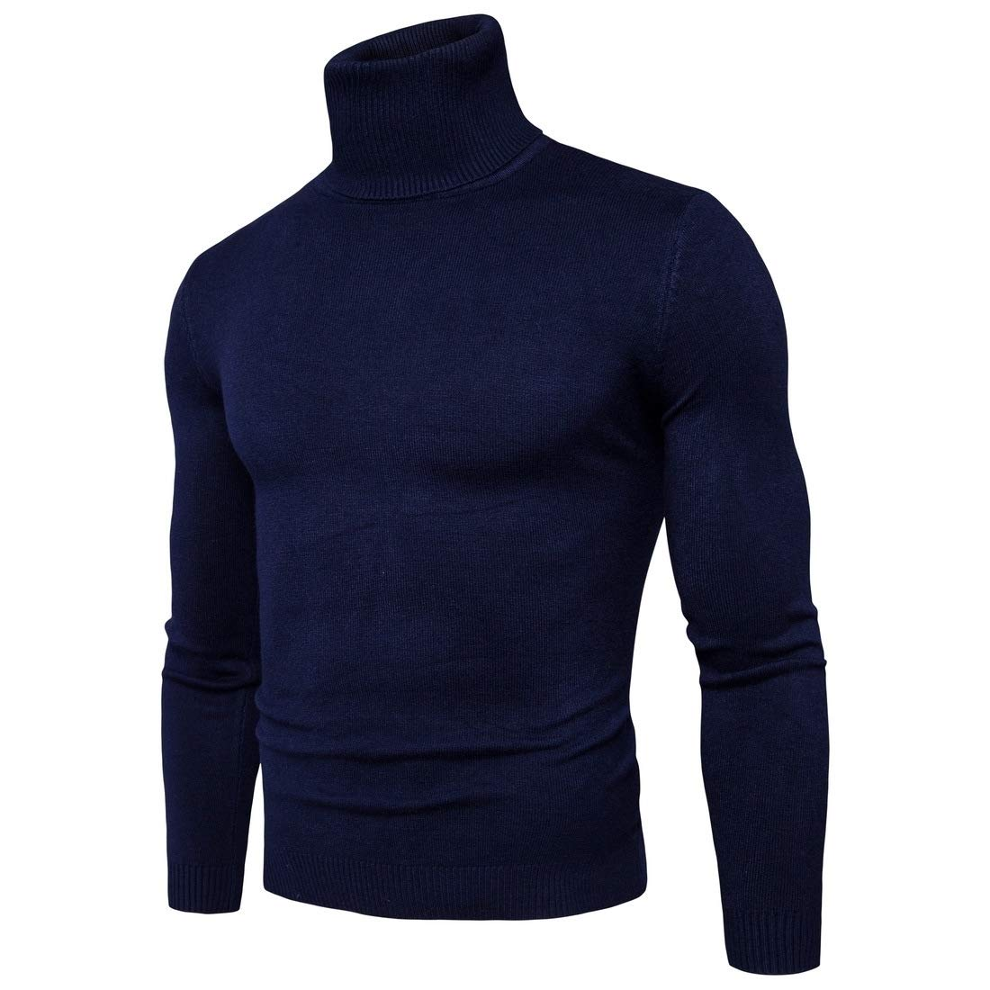 YUNY Mens Tops Turtle Neck Knit Solid Color Hipster Pullover Sweaters Navy Blue L