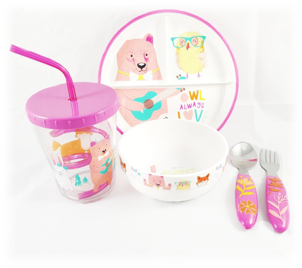 Deluxe-Kid-Friendly-5-pc-Cute-Animal-Decal-Dinnerware-Set-BPA-Free-with-Anti-Slip-Rubber-by-Pillowfort