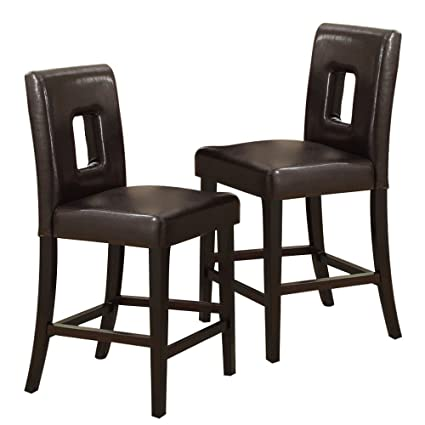 Poundex PDEX F1321 Bar Stools Counter Height Dark Brown Leather Set Of 2 Parson  Chairs