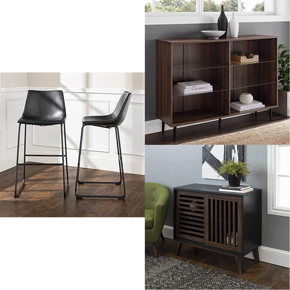 "Walker Edison Furniture 30"" Armless Indoor Kitchen Dining Chair BarstoolSet of 2, Black | Kitchen Dining Storage Cabinet Living Room, 48 Inch, Walnut Brown | AZ36SSDSB TV Stand, 36"", Black/Dark Walnut"