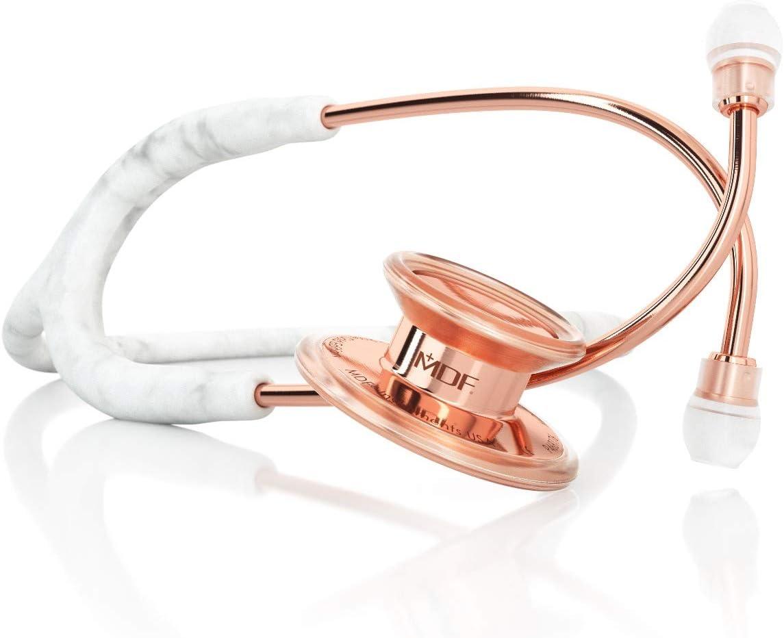 MDF MD One Premium Estetoscopio doble cabeza de acero inoxidable - Garantía de por vida & Programa-piezas-gratuitas-de-por-vida (MDF777) (Mármol/Oro Rosa)
