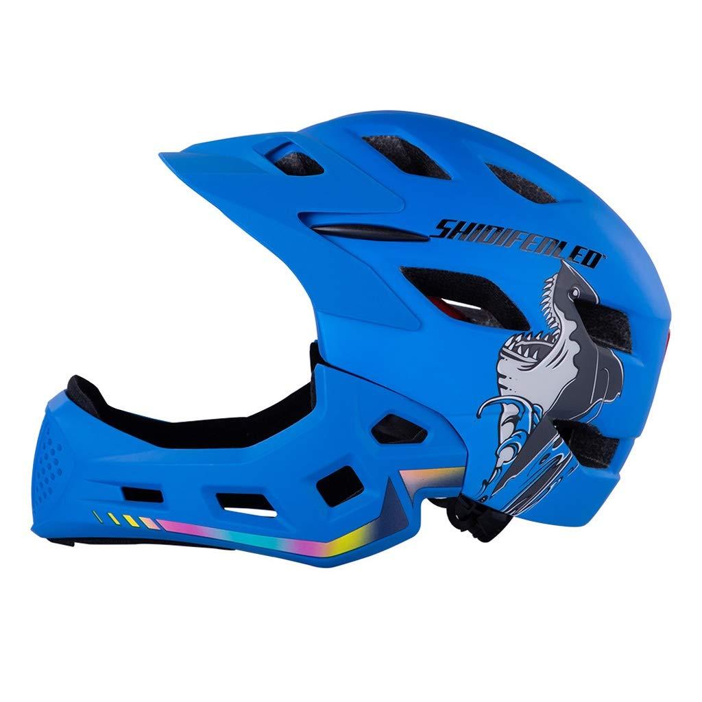キッズ5-8歳、セーフティライトスーパーライト一体バイクヘルメットキッズバイク子供の誕生日のプレゼント付きLEDライト専用のサイクルバイクヘルメットとサイクルヘルメット用ヘルメット 青