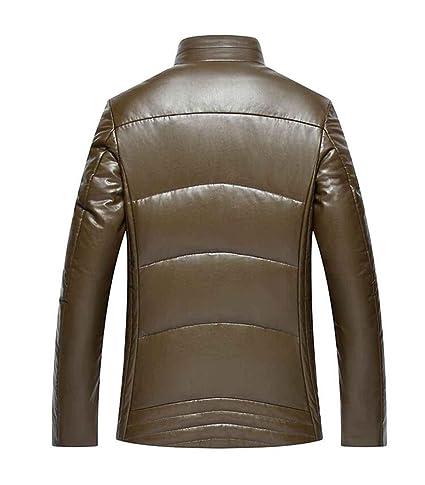 PJK chaqueta de invierno para hombre de cuero abrigo de piel fina parka forro polar Cuello de piel desmontable, yellow, xxl: Amazon.es: Ropa y accesorios
