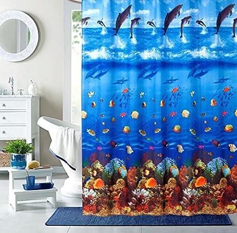 Yumiko Hookless Shower Curtain, Polyester Fabric Shower Window Curtain For  Bathroom, Dolphin Jump Sea