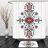 Vipsung Shower Curtain And Ground MatGeometric Mexican and African Ethnic Tribal Ornamental Folkloric Unique Vintage Pattern MultiShower Curtain Set with Bath Mats Rugs