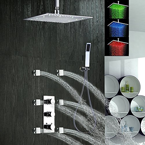 ll Mount Thermostatic Shower Faucet Set,16''LED Rainfall Shower Head and Spa Body Massage Spray Jets Bathroom Bath Shower Mixer Taps Lavatory Plumbing Fixtures Shower Set,Chrome (Concealed Body Lavatory Faucet)