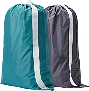 NISHEL Laundry Bag with Strap Extra Large 28 x 40 inches, 2 Packs, Durable Nylon Fabric with Drawsting Closure, Machine Washable Dry Cleaning Bag for Students, Grey & Sky Blue