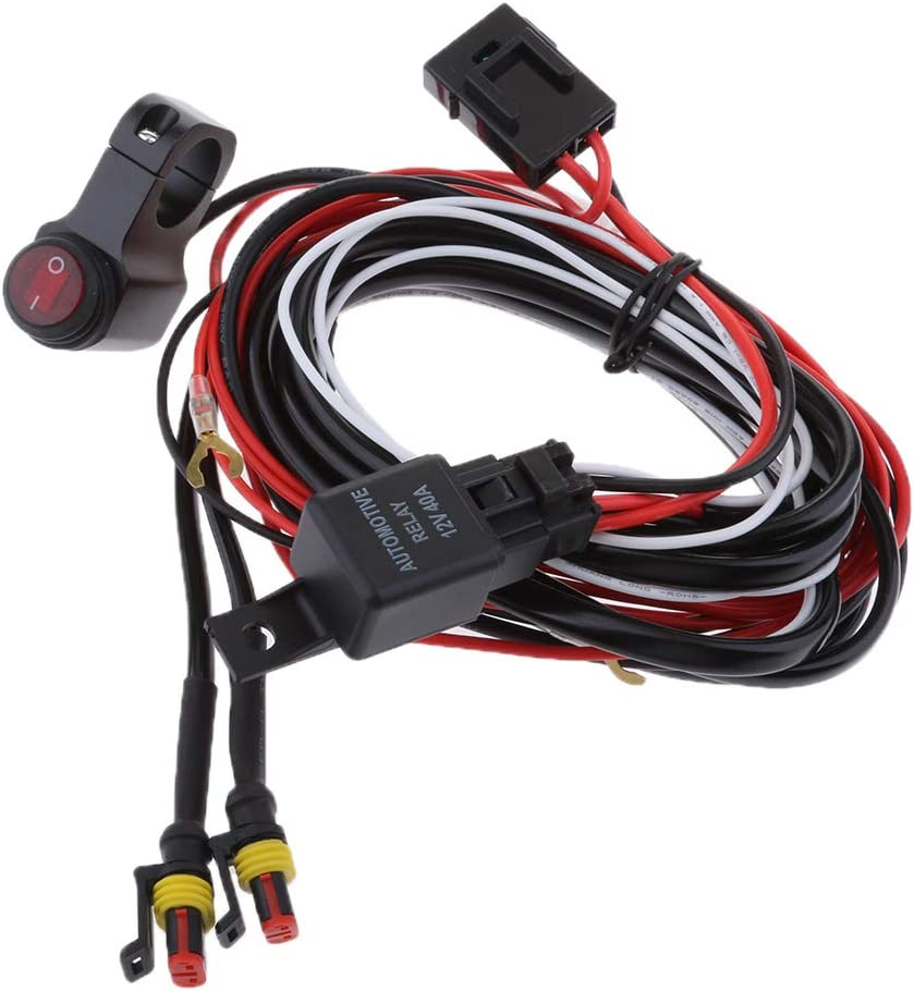 perfk Rubber 2m Wiring Harness for LED Working Light Bar Fuse Relay On//off Waterproof Strobe Switch