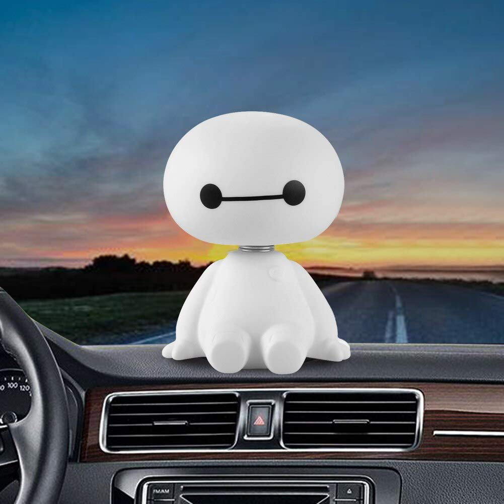 kgftdk Car Dashboard Decoration Car Interior Robot Bobble Head Scuotendo La Testa Auto Toys Big Hero Car Decoration Doll Ornament Accessori Auto