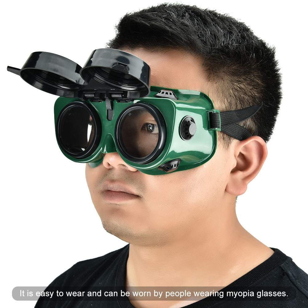 Soldering Flip-Up Front Welding Goggles Protective Glasses Used for Welding Torching Brazing /& Metal Cutting Safety Eye Protection Welder Goggles with 50 mm Lens