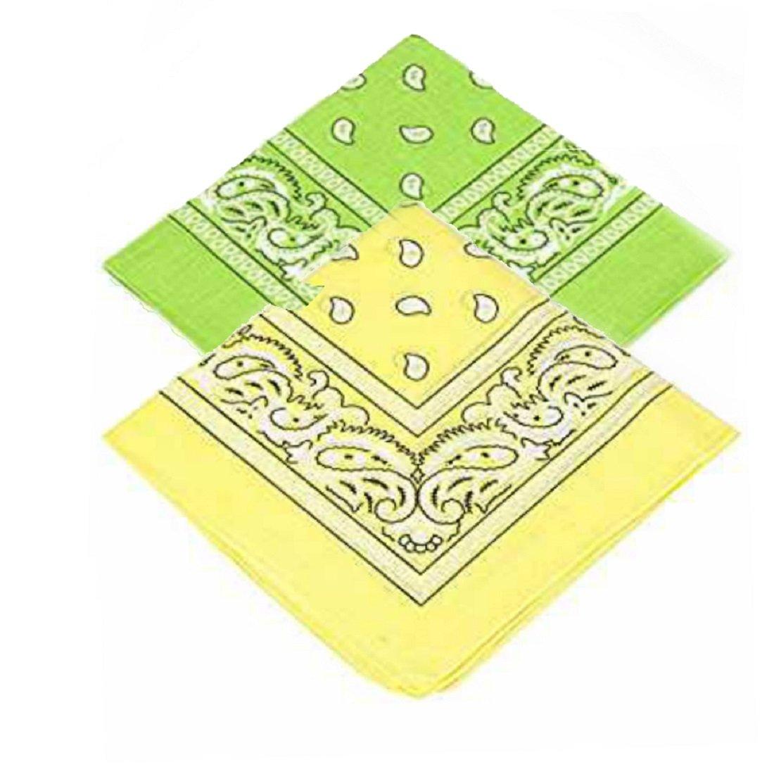 Women /& Kids For Men Set of 2 Paisley Bandanas Light Green /& Yellow Bandannas scarf//Hankerchief//Head tie//Neck Tie//Neckerchief 100/% Cotton High quality Pack of 2