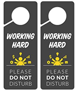 Working Sign for Door, 2 Pack (Printed on Both Sides), 9.3″x3.5″ PVC Plastic, Home Office Accessories, Do Not Disturb Sign, Studying Sign, Working from Home, Do Not Disturb Door Hanger Sign