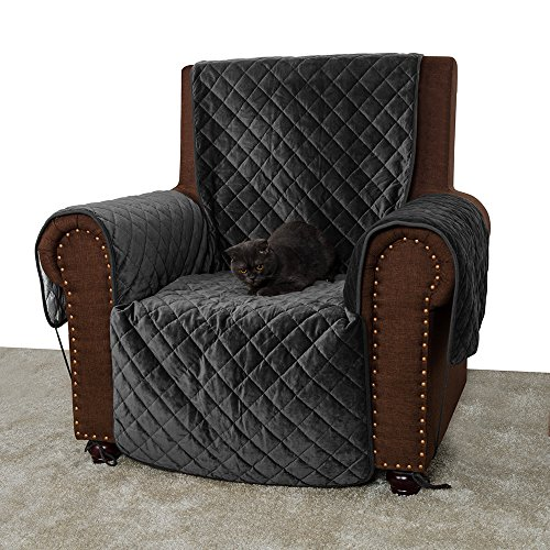 Furry Buddy Quilted Velvet Pet Recliner Cover, Water Resistant Couch Furniture Cover, Non-Slip Silicone Rubber Bottom, Tucking Flaps, 8 Tying Strings, 3 Storage Pockets, Grey