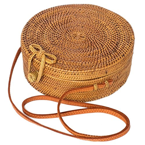 Bali Bag/Straw Bag for Women with Bow Clasp – Handwoven Round Straw Crossbody Bag with Linen Lining, Perfect Summer Beach Bag