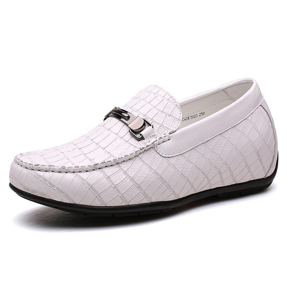 CHAMARIPA Business Casual Herren Houml;here Schuhe Houml;he Erhouml;hung Loafer Schuhe mit Ferse Lift-2,36/6cm Taller-H72C40K102D  38|White