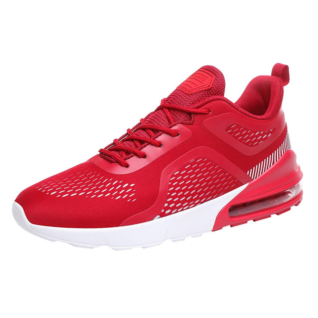Mysky Fashion Men Leisure Brief Weight Athletic Sport Running Shoes Men Mixed Color Comfortable Flat Sneakers Red