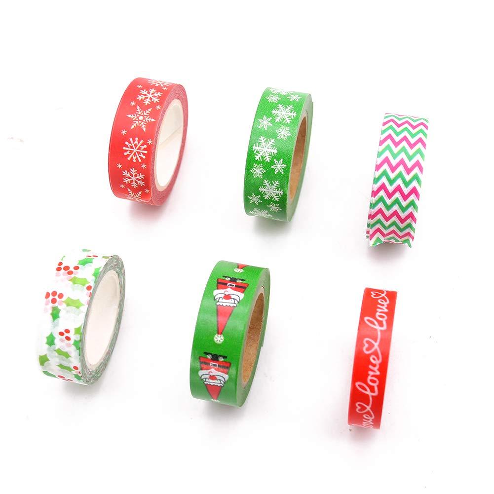 6 Pack Decorative Duct Tape Holiday Christmas Washi Tape Craft Decorative Set Xmas 0.6\