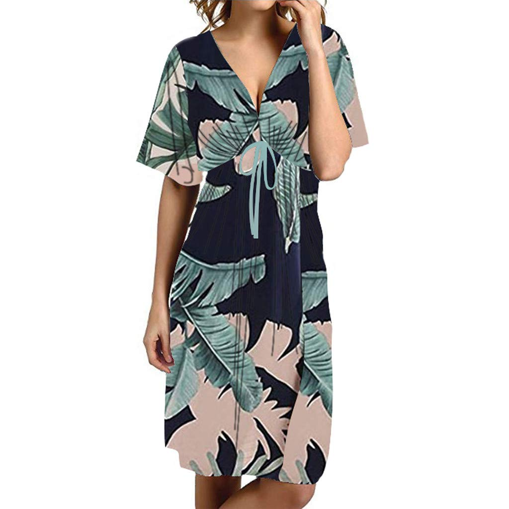 Women's Dresses V Neck Backless Short Sleeve Palm Floral Print A Line Pleated Beachwear Sundress for Ladies (S, Blue) by Frost`nai Women's Dress (Image #1)
