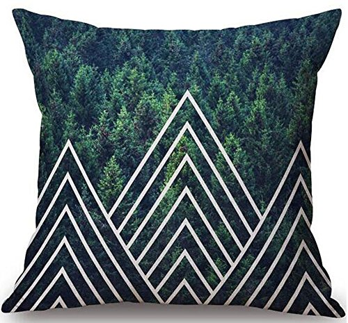 Andreannie Nordic Creative Design Modern Geometric Green Forest Animals Home Throw Pillow Case Personalized Cushion Cover New Home Office Decorative Square 18 X 18 Inches Best (Triangle Zigzag) (Forest Pillows Throw Green)