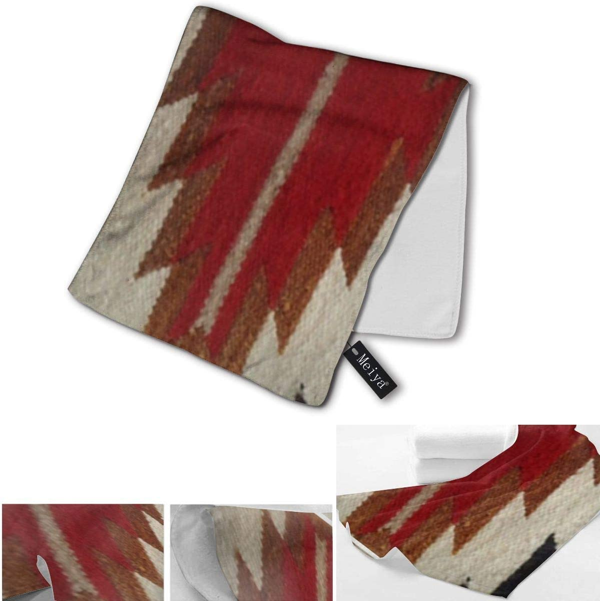 Yoate Co Tribal Native American Red Hue Print Soft Highly Absorbent Multipurpose Bathroom Towel for Hand,Face,Gym,Sports and Spa 11.8x27.5inches