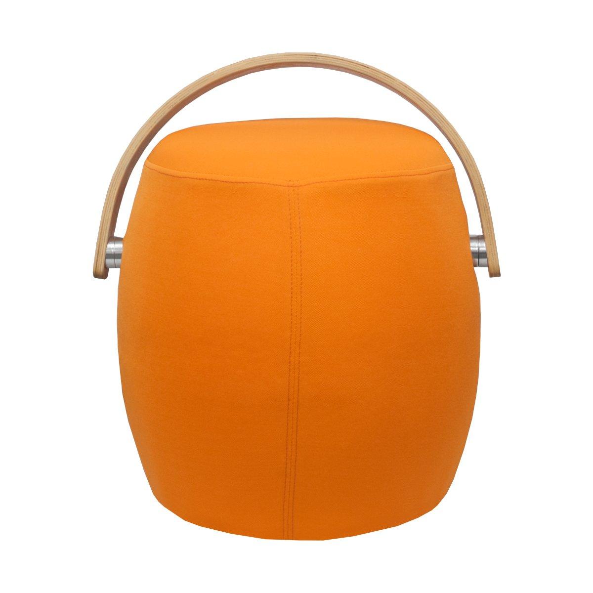 Mod Made Modern Bucket Stool Chair Ottoman with Plywood Handle, Orange