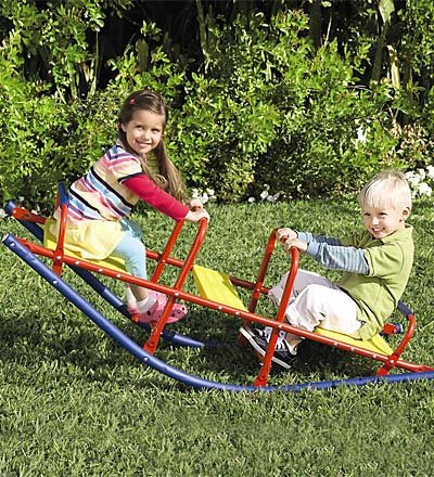 HearthSong Kid's Metal Rocking Seesaw Teeter Totter with Handlebars, Weather Resistant Backyard Playground Equipment, Max Weight 140 lbs