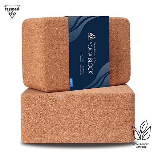Forbidden Road Cork Yoga Block Yoga Brick 2 Block Set and 1 Block Pack Choose Your Size Cork Yoga Block to Support Back Bends and Select Standing (2 Cork Block Set, 369 inch)