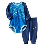 Nike Baby Boy Bodysuit & Pants 2 Piece Set (3-6 Months, Binary Blue (B9K) / Volt/Blue)