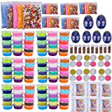 Slime Bulk Party Favors Supplies – 108 Pack Ready Slimes Birthday Gifts Craft Kits for Girls Boys – Set Includes Glow Powder, Glitters, Surprise Putty Egg Putty Fruit Slices, Fishbowl Foam Beads