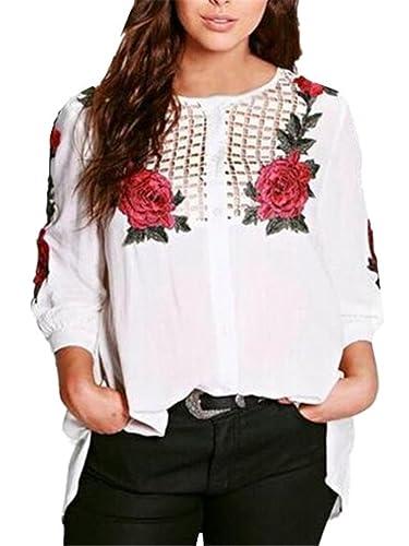Gogofuture Camisas Mujer Hipster Elegantes Estampadas Flores Camiseta Tops con Mangas Largas T-shirt...